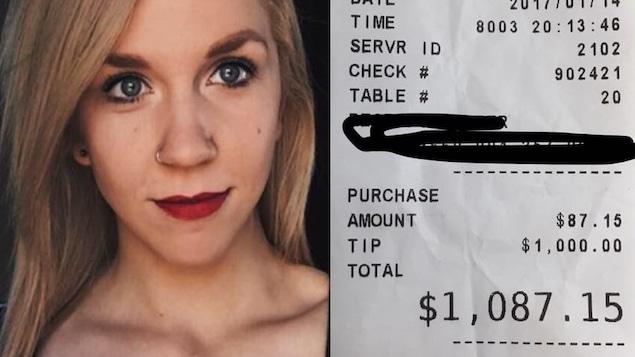 D'un côté, une jeune femme et de l'autre, un reçu de restaurant qui démontre un pourboire de 1000 $.