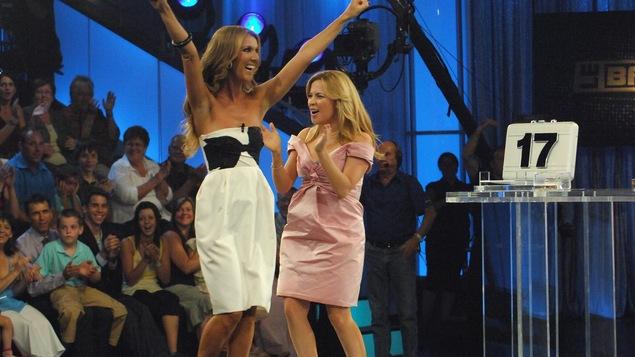 Julie Snyder et Céline Dion à l'émission «Le banquier»