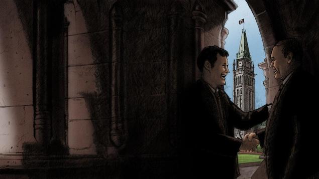 Dessin de deux hommes se serrant la main à Ottawa