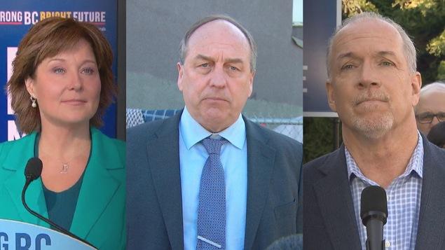 Les leaders des trois principaux partis de gauche à droite : Christy Clark (Parti libéral), Andrew Weaver (Parti vert) et John Horgan (Nouveau Parti démocratique)