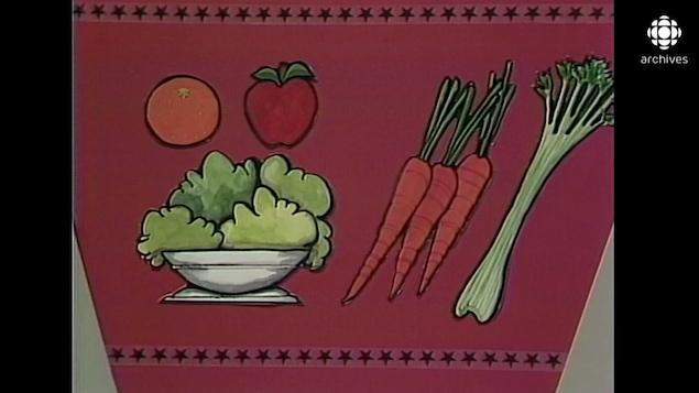 Illustration montrant une orange, une pomme, de la laitue, des carottes et un céleri.