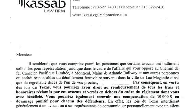Dans cette lettre, Lance Christophe Kassab se présente comme un avocat de Houston «spécialisé dans les poursuites contre les avocats pour faute professionnelle».