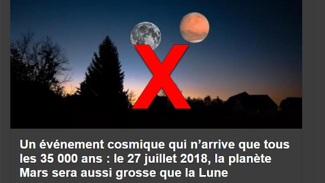 Nous voyons la Lune et Mars dans le ciel. Elles ont la même taille. « Un événement cosmique qui n'arrive que tous les 35 000 ans : le 27 juillet 2018, la planète Mars sera aussi grosse que la Lune », est-il écrit.