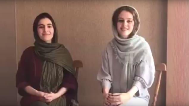 Capture d'écran de la vidéo du message avec les deux actrices