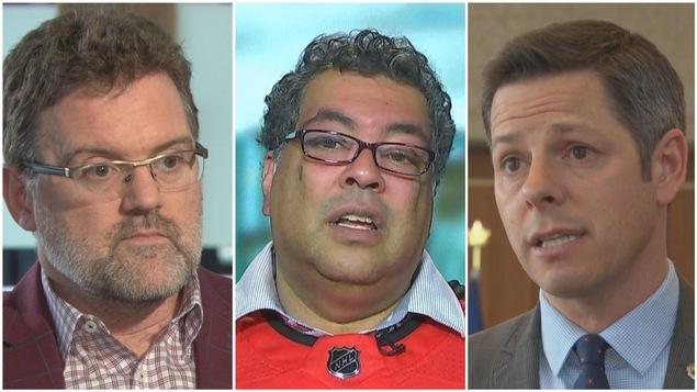 Le maire de Gatineau Maxime Pedneaud-Jobin, le maire de Calgary Naheed Nenshi et le maire de Winnipeg Brian Bowman.
