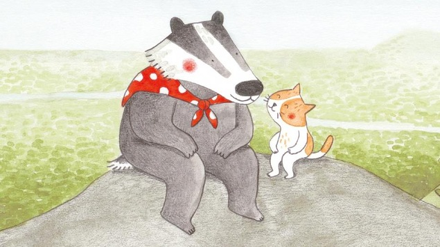 Détail de la couverture du livre Sur le chemin de la montagne, de Marianne Dubuc : illustration représentant un blaireau et un chat assis sur une roche