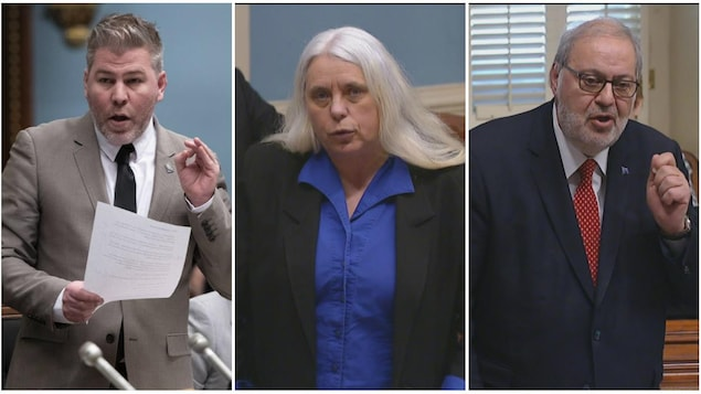 Les chefs des trois partis d'opposition: Pascal Bérubé, Manon Massé et Pierre Arcand