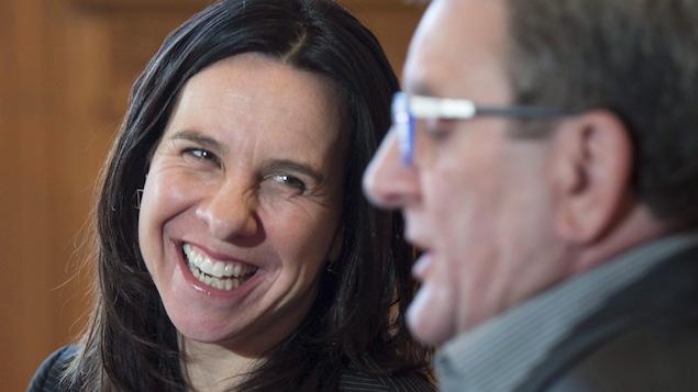 Les deux maires à l'hôtel de ville de Montréal.