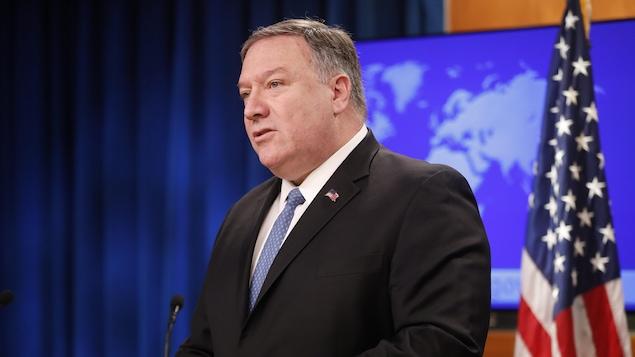 Le secrétaire d'État américain Mike Pompeo lors d'une conférence de presse à Washington, le mercredi 17 avril 2019.