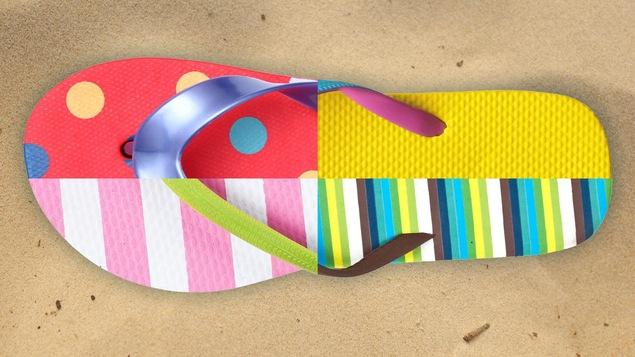 Un montage photo de plusieurs sandales de couleurs différentes.