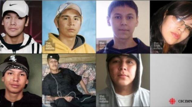 photo des sept jeunes autochtones morts dans des circonstances nébuleuses et qui fréquentaient l'école secondaire à Thunder Bay
