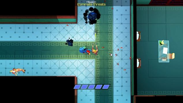 Vue du haut des airs sur un personnage qui se bat à mains nues contre des gardes armés de fusils dans les corridors d'un bureau.