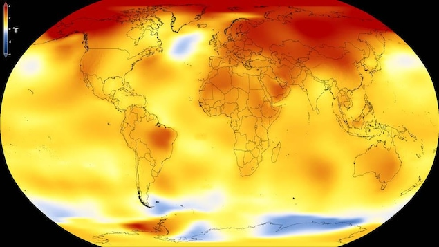 Carte des températures moyennes globales en 2017.