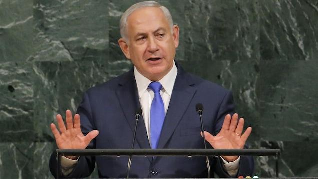 Le premier ministre israélien Benyamin Nétanyahou lors de son allocution devant l'Assemblée générale de l'ONU, à New York