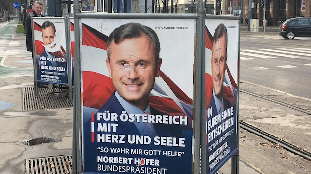 Pancarte gribouillée de Norbert Hofer
