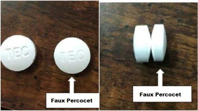 De faux comprimés de Percocet contenant du fentanyl.