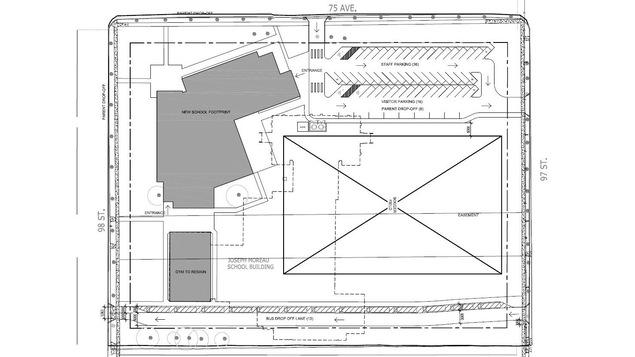 Les premiers plans de construction de l'École Joseph-Moreau