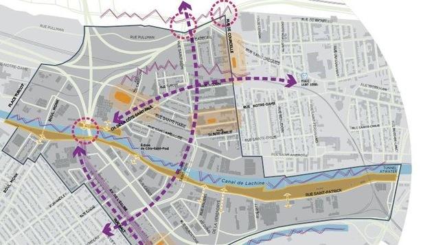 Les flèches pointillées mauves montrent les axes prioritaires où l'on voudrait faciliter la circulation des vélos et piétons.