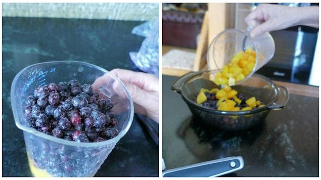 Les fruits pour la croustade.