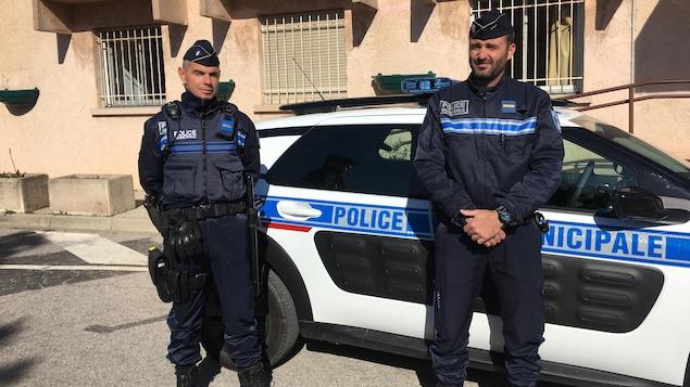 Les policiers Pierre Gracchiolo et Stéphane Cattagny, responsables du comité Citoyens vigilants.
