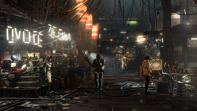 Scène finale du village Golem du jeu Deus Ex : Mankind Divided avec les textures et le rendu