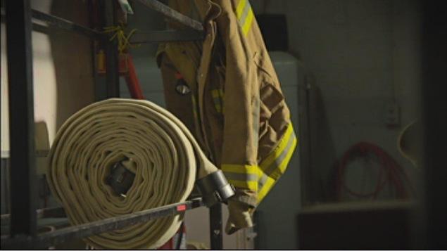 Boyau d'incendie dans une caserne de pompiers
