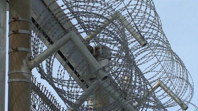 Barbelés sur le grillage du périmètre de sécurité d'une prison.