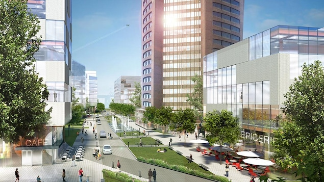 Image représentant ce que pourrait donner le projet immobilier et commercial sur ce qui deviendra l'ancienne Maison de Radio-Canada. Des édifices et une nouvelle rue sont visibles près de la tour principale.