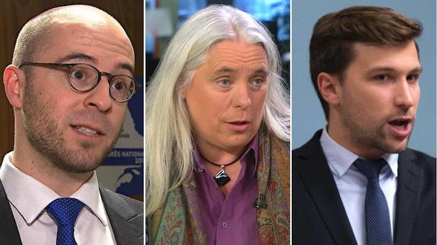 Un montage photo d'un homme qui semble chauve et portant des lunettes rondes, d'une femme aux cheveux blancs et longs et d'un jeune homme aux cheveux bruns.