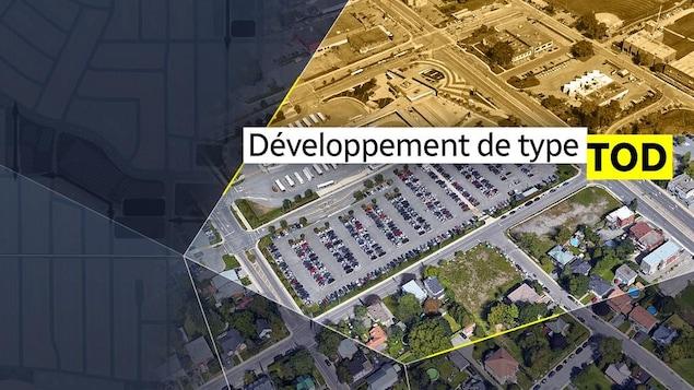 Image aérienne d'un projet de développement de type TOD, des quartiers aménagés autour des stations de transports en commun.