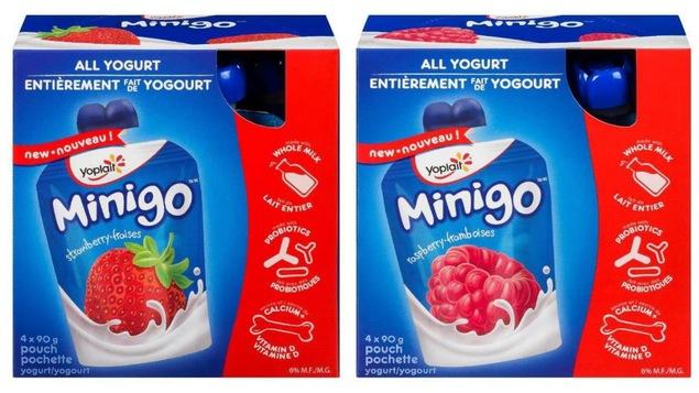 Les produits Yoplait Minigo au yogourt à la fraise et à la framboise font l'objet d'un rappel.