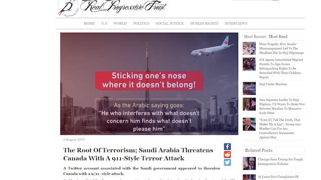 L'article affirme que « l'Arabie saoudite menace le Canada avec une attaque terroriste semblable au 11 septembre », et montre le tweet en question, où on voit un avion se diriger vers la tour de CN, à Toronto.