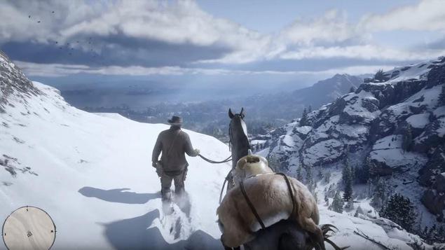 Une capture d'écran d'un jeu vidéo montre un homme et un cheval dans un décor très réaliste.