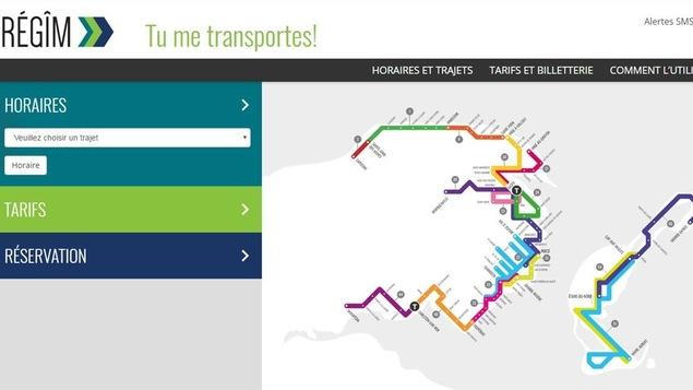 Trajets du réseau de transport collectif de la Gaspésie