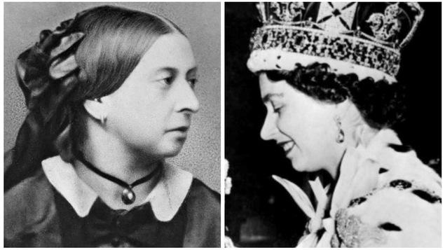 Les reines Victoria et Élisabeth II