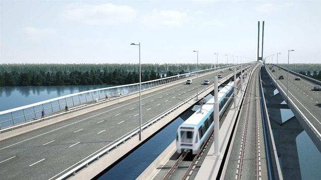 Simulation du projet de REM sur le futur pont Champlain.