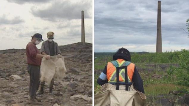 À gauche, une photo d'époque montre deux employés qui étendent de la chaux sur un sol dénudé devant une cheminée. À droite, une image d'aujourd'hui montre un employé qui plante des arbres sur le même sol, maintenant recouvert de végétation.