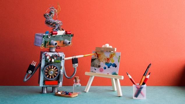 Illustration montrant un petit robot caricatural qui peint sur une toile à l'aide d'un pinceau.