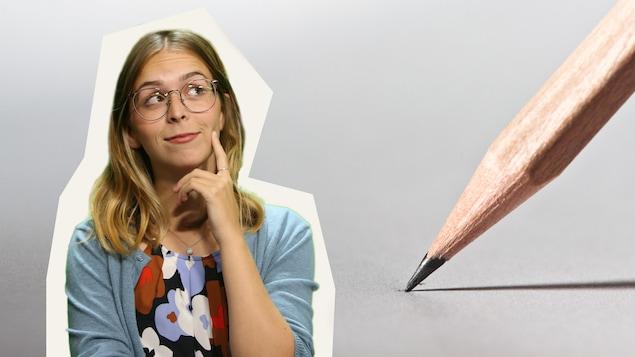 Montage de Rosalie Dumais-Beaulieu avec un crayon appuyé sur une feuille de papier en arrière-plan.