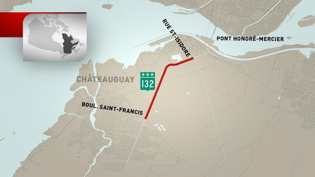 La route 138 a été fermée du boulevard Saint-Francis à la rue Saint-Isidore.