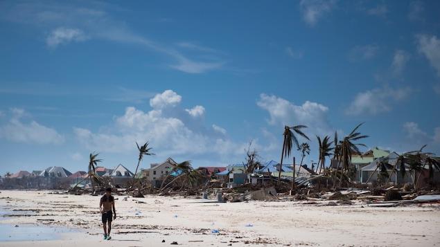 Un homme marche sur la plage lors d'une journée ensoleillée. Autour de lui les palmiers sont presque déracinés et les habitations sont très endommagées