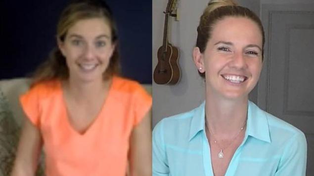 Samantha Field telle qu'elle apparait dans la vidéo et maintenant.