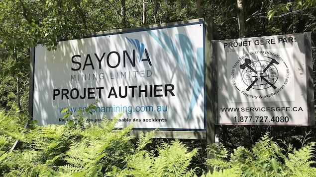 Deux grandes affiches du projet minier Authier, de la compagnie Sayona Mining, plantées dans la terre sur un terrain boisé.
