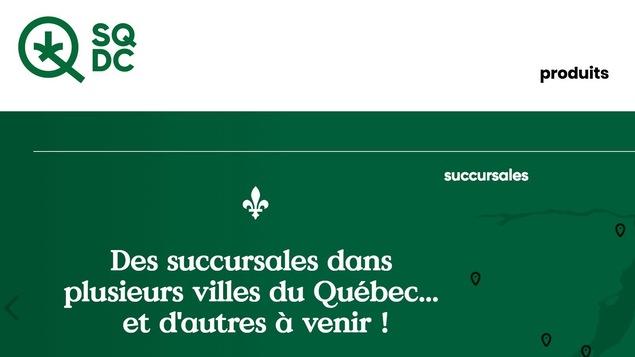 Le site internet de la Société québécoise du cannabis.