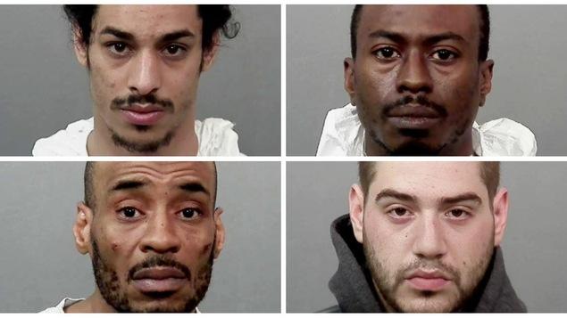 Le Service de police de la Ville de Montréal a mis la main sur Yossi Avadov, 23 ans, Clayton Roach, 38 ans, Vincent Parent-Lévesque, 23 ans, et James Craigwell, 43 ans.