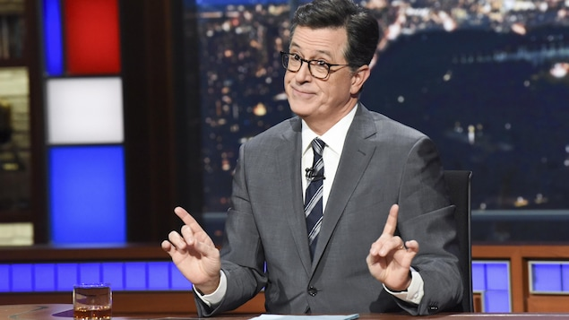 L'animateur Stephen Colbert sur le plateau de «The Late Show with Stephen Colbert» à New York