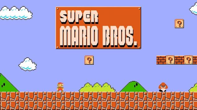 Une capture d'écran de l'écran d'accueil du jeu Super Mario Bros.