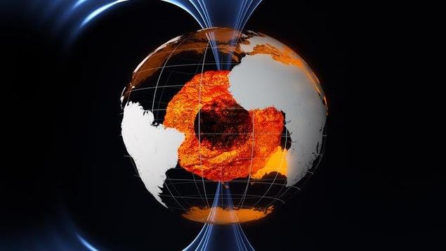 Illustration du noyau terrestre et du champ magnétique.