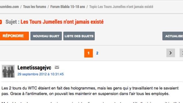 Capture d'écran d'un forum qui explique que les tours jumelles n'ont jamais existé