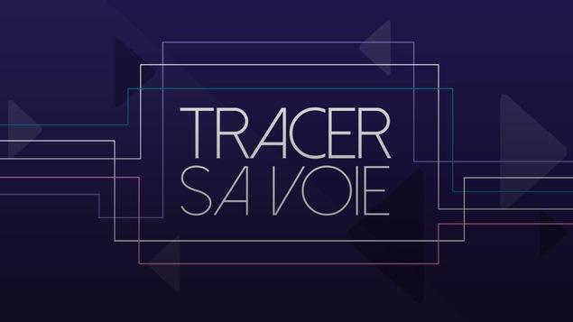 Le logo de l'émission Tracer sa voie apparait sur un fond mauve.
